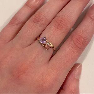 Ben Moss gold ring amethyst and pink tourmaline